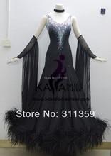 KAKA DANCE B1411 2014 New Style Black Feather Ballroom Standard Dance Dress Waltz Competition Dress Women