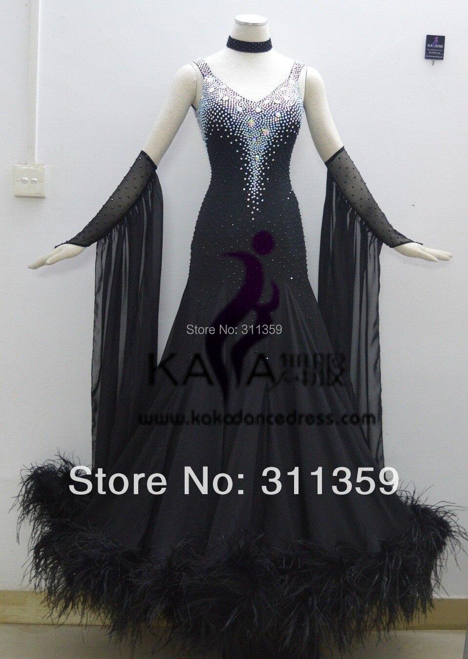 KAKA DANCE B1411 2014 New Style Black Feather Ballroom Standard Dance font b Dress b font