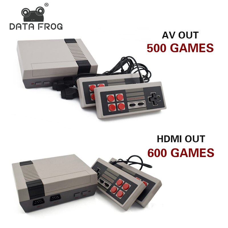 Data Frog Mini TV Game Console Support HDMI/AV 8 Bit Retro Video Game Console Built-In 600/500 Games Handheld Gaming Player