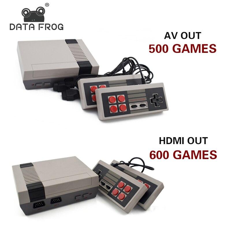 Данных лягушка Мини ТВ игровой консоли Поддержка HDMI/AV 8 бит Ретро игровая консоль встроенный 600/500 игры ручной игровой плеер