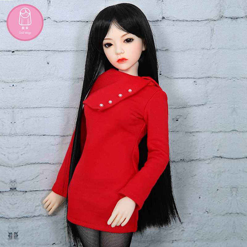 Wig size7-8 inch doll accessories high-temperature wig 1/4 bjd sd doll long hairstyle L4-02#1BColor Lovely hair delicate synthetic bjd wig long wavy wig hair for 1 3 24 60cm bjd sd dd luts doll dollfie cut fringe