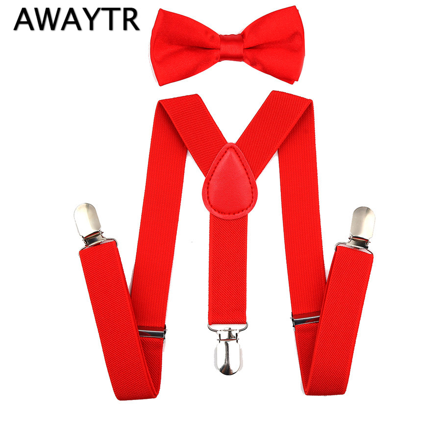 AWAYTR Kids Suspenders And Bow Ties Set Girls High Elastic Y-back Braces Baby Kids Solid Colors Boys Suspenders And Bowtie