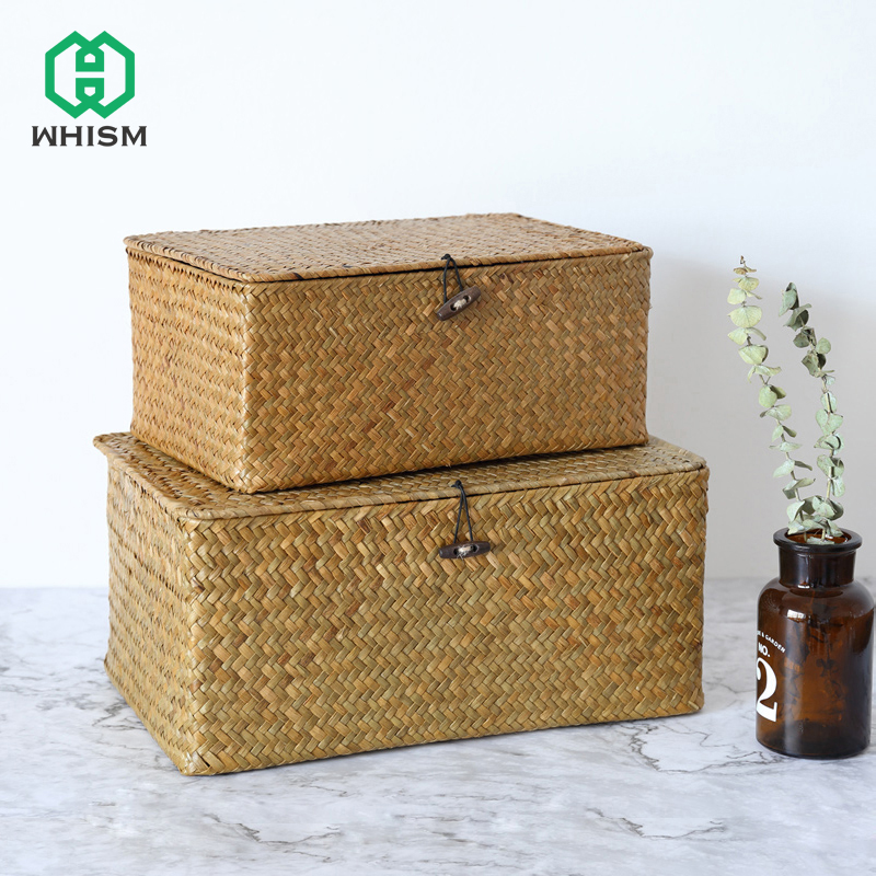 WHISM Handmade Seagrass Woven Storage Box Finishing Basket Seaweed Storage Basket with Lid Sundry Bath Cosmetic Towel Container