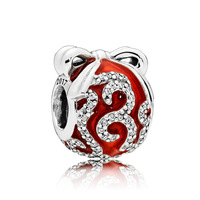 SNS Classique 925 Sterling Argent Pomme De Pin DIY Bracelet Décoré avec Fruits Rouges fit Original Pandora Bracelet DIY Charme Bijoux