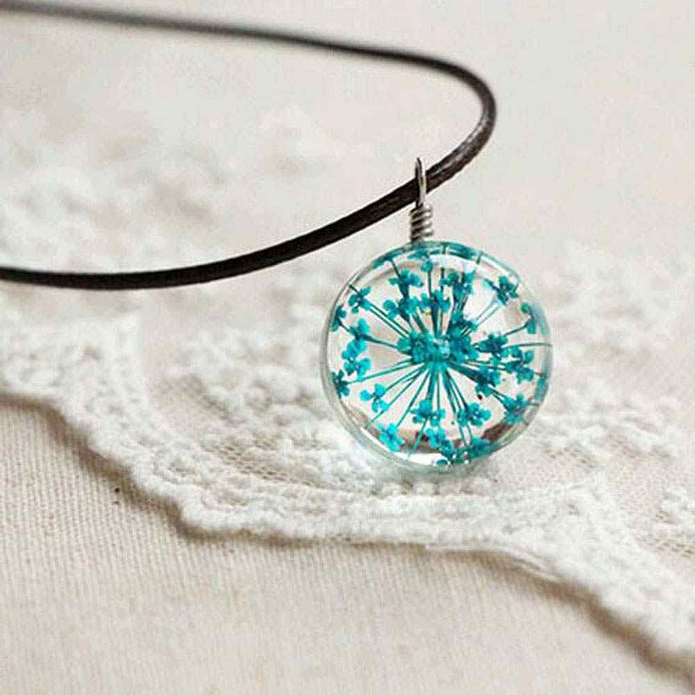 IPARAM 2019 Fashion Flower Lockets Necklace Leather Chain Four Leaf Clover Glass Cabochon Wish Bottle Pendant Necklace Jewelry