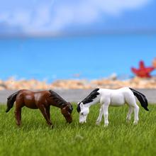 NEW Horse garden statues resin family pack Simulation Animals kids toys Mini Gnomes Moss Terrariums Resin Figurines Decoration