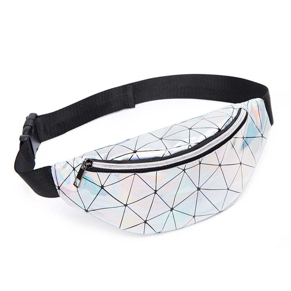 Geometric Holographic Waist Bags Women Fanny Belt Packs Chest Phone Pouch PU Leather Coin Purse For Fashion Lovely Gilrs