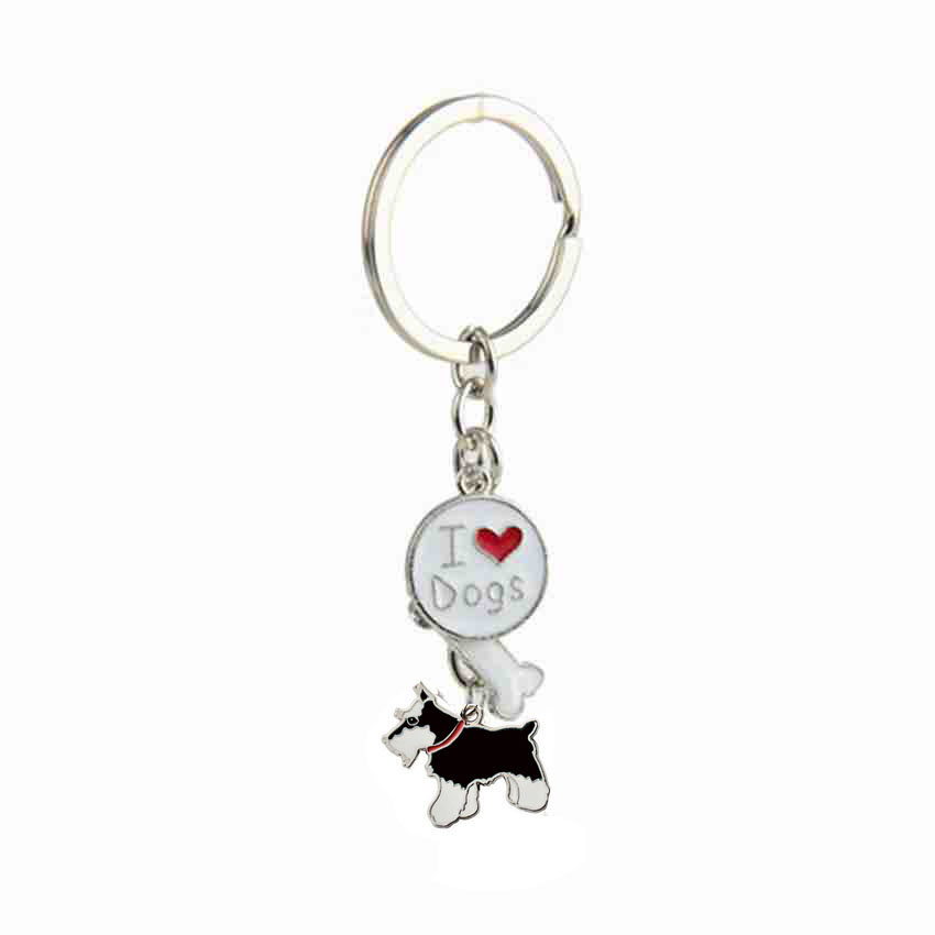 Standard Schnauzer Pendant Key Chains For Men Women Girls Silver Color Alloy Metal Pet Dog Charm Bag Car Keychain Key Ring 2018