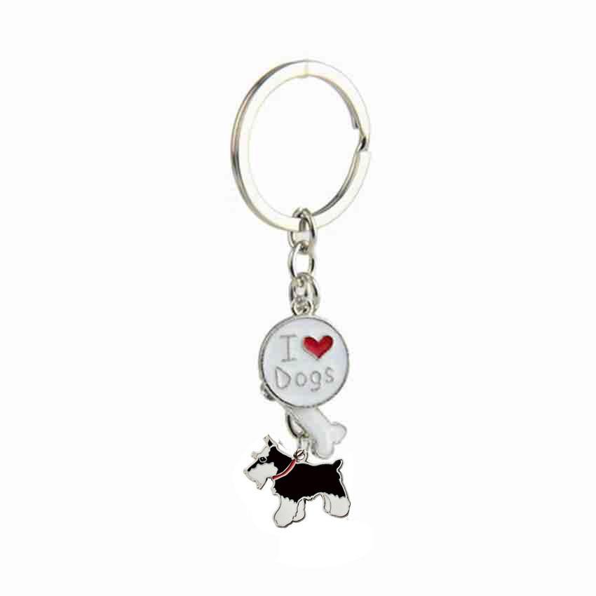 Normál schnauzer medál kulcstartók férfiak nők lányok ezüst színű ötvözött fém kedvtelésből tartott kutya varázsazsák autó kulcstartó kulcstartó 2018