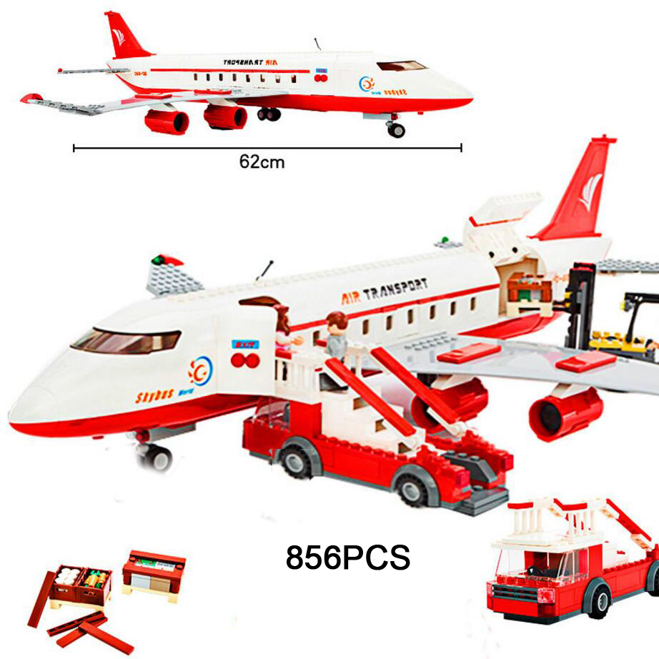 Hot city series Large airliner building block Crew figures airplane Passenger stairs trucks bricks toys for children gifts gudi block city large passenger plane airplane block 856 pcs bricks assembly boys building blocks educational toys for children
