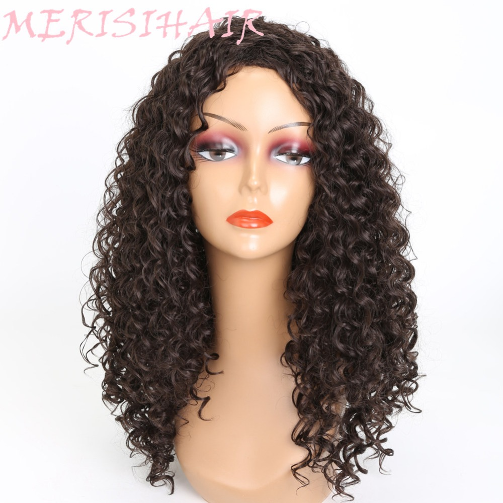 MERISI HAIR Long Kinky Curly Black Red 4 Colors Available Synthetic Hair Wigs For Black Women Afro Hairstyle Heat Resistant