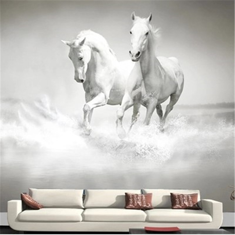 modern photo wallpaper Horse White Horse Continental back wall mural sofa bedroom TV backdrop 3d mural wallpaper for living room brooklyn black and white wallpaper mural photo wallpaper 3d mural large wall painting mural backdrop stereoscopic wallpaper