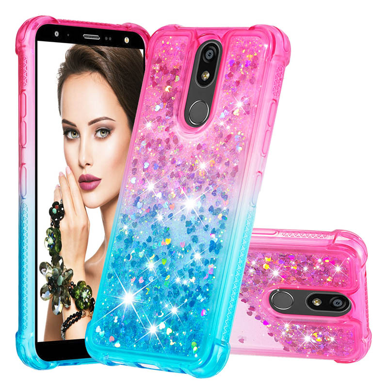 Fashion Liquid case For LG K12 Plus Case Dynamic Glitter Silicone quicksand phone Cover For LG K40 Stylo 5 <font><b>K12Plus</b></font> Caso Funda image