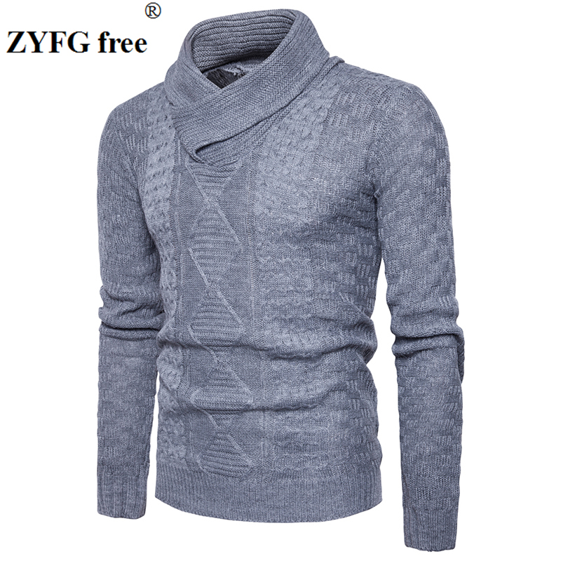 New 2017 style winter men casual Sweater turtleneck pullovers mens sweater Fashion solid personality Decorative pattern