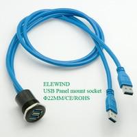 25mm Metal USB Panel Mount 2x USB3 0 FEMALE A MALE A 2x60cm Wiring
