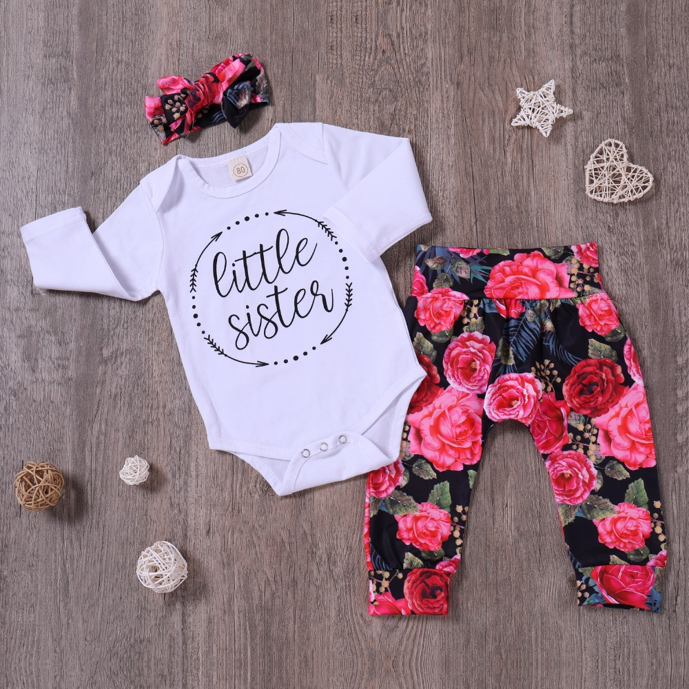 Infant Toddle Baby girl Clothing Set Baby Sister Bodysuit+ Rose Print Pants+ Headband Ne ...