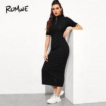 29fe63e67 ROMWE para frontal de cremallera rayas brazalete costilla-vestido de punto  2019 elegante negro manga corta una línea larga vesti.