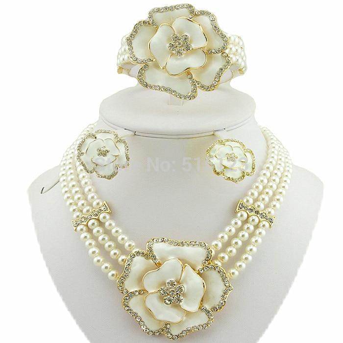 Rose de la flor de la joyería africana fija grandes sistemas de la joyería de la