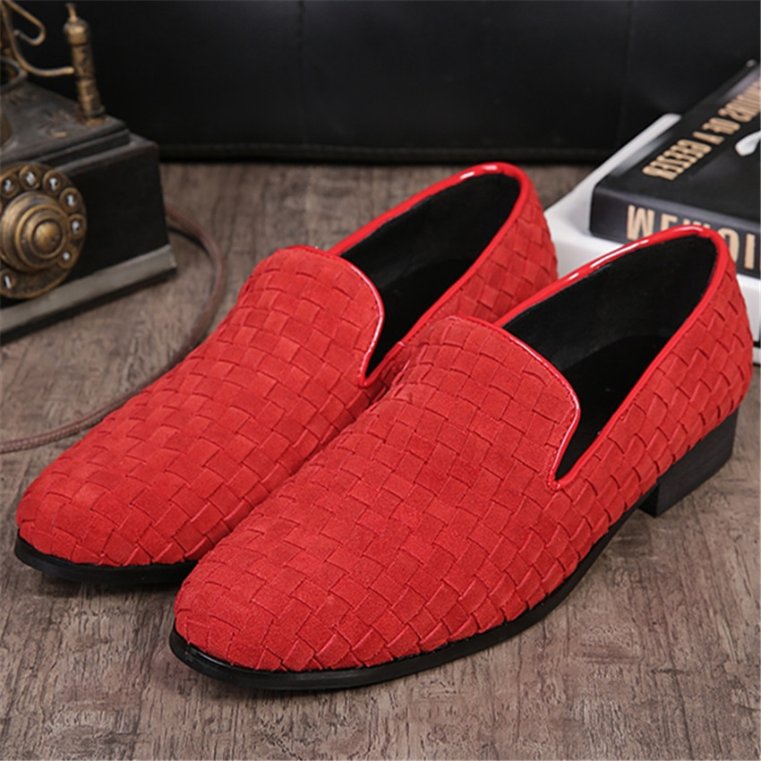Red font b Men b font Dress Loafers Slip On Checkered Weave Flats Wedding font b