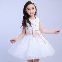 Summer Elegant Children Sequin Bow Dress Kids Baby Girls Bow Belt Sequins Tulle Princess Lace Tutu