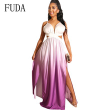 FUDA Backless Spaghetti Strap Summer Hollow Out Boho Beach Dress Lady Sleeveless Sundress Maxi Female Sexy Clothing