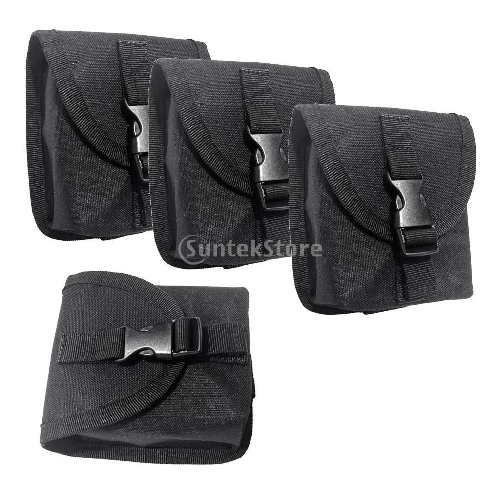 Paquete de 4 piezas de buceo de repuesto peso bolsillo de cinturón con hebilla de liberación rápida-Negro