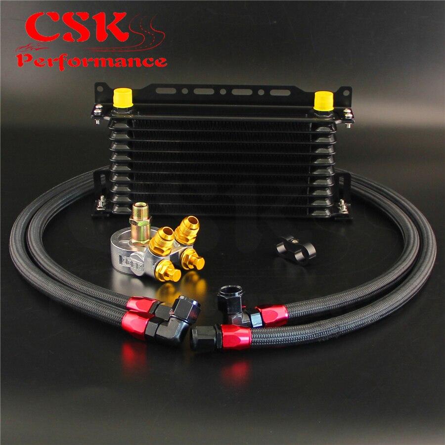 Refroidisseur d'huile à 10 rangées avec support + Kit d'adaptateur de Thermostat 176F/80 degrés pour voiture japonaise