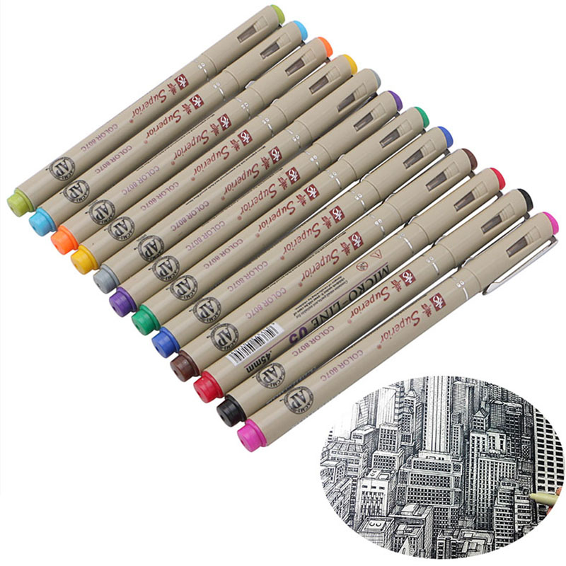 12 Colors Art Manga Fine Head Paint Graphic Sketch Drawing Markers Pen Writing Pens Supplies