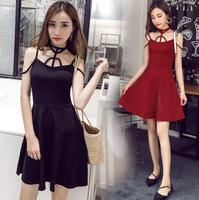 2018 Harajuku For Women Summer Women Party Sexy Dress Red Black Gothic Cross Strap Design Halter