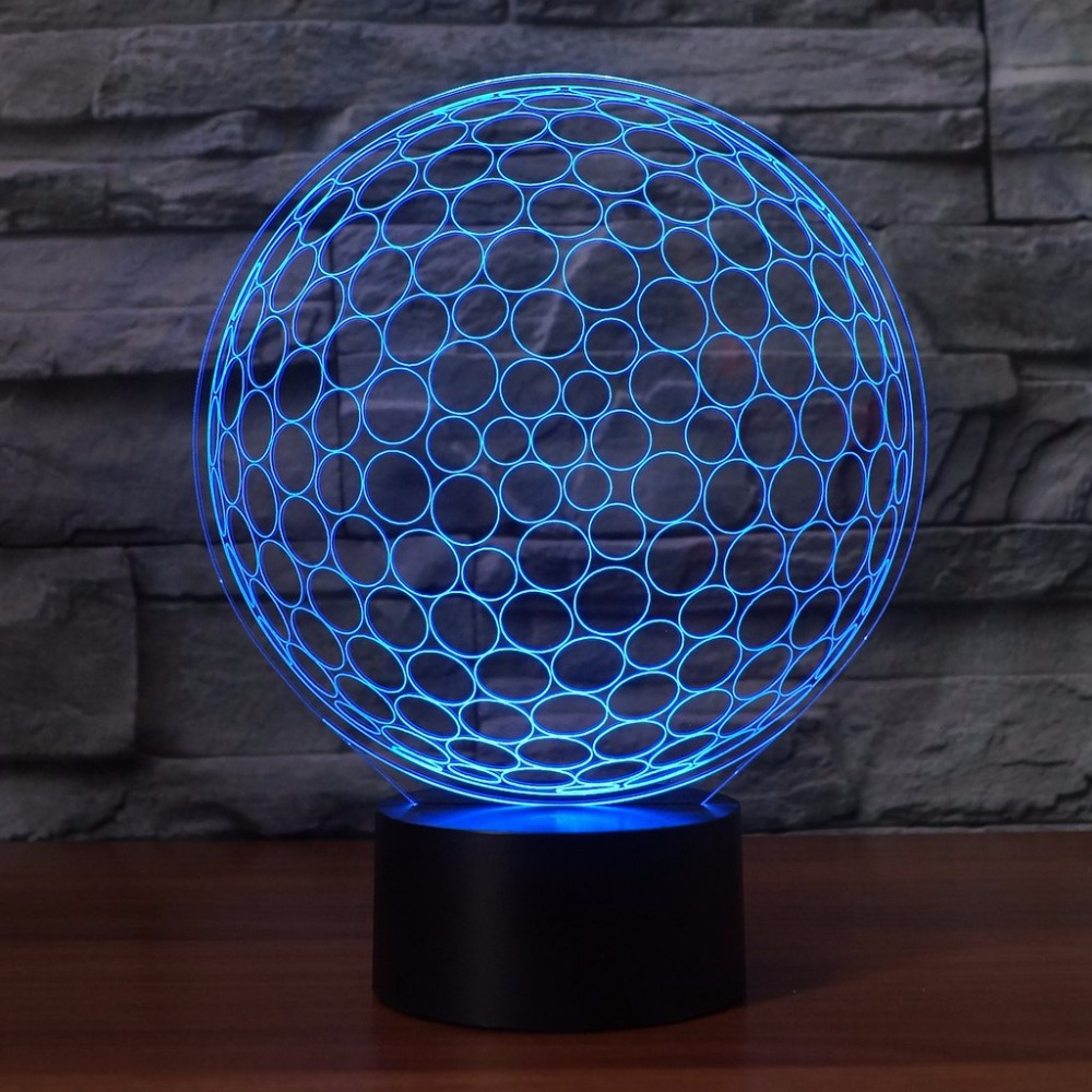 3D LED Golf Ball Shape Table Lamp Touch Switch Acrylic NightLight USB Colorful Gradient Sleep Lighting For Golf Enthusiast Gifts