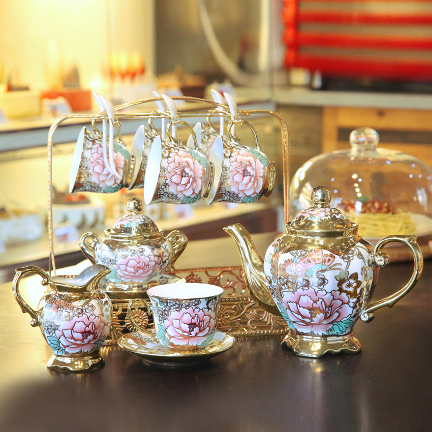 High grade coffee cup set British Porcelain Tea Set ceramic coffee mug cup complete set of