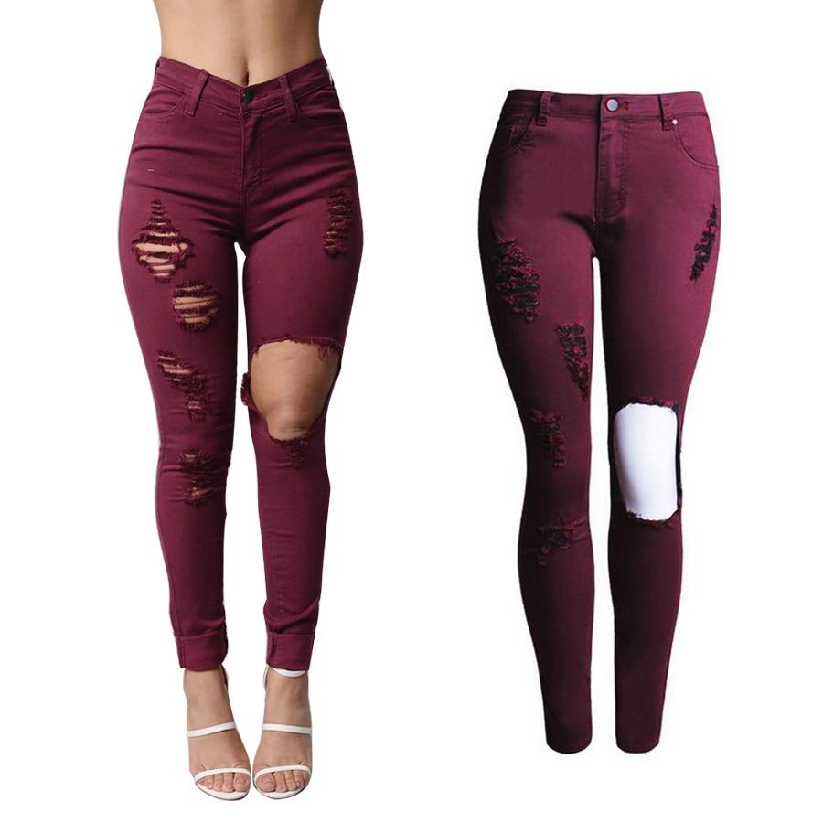 buy 2066 new hot fashion ladies burgundy cotton denim pants stretch womens. Black Bedroom Furniture Sets. Home Design Ideas