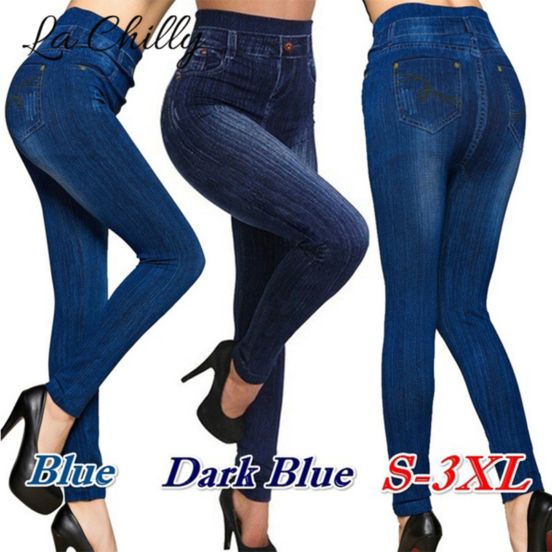 Women New Fashion Classic High Waist Slim Leggings Imitation Jean Skinny Jeggings Skinny Workout Pants Plus Size Hot Sale S-3XL