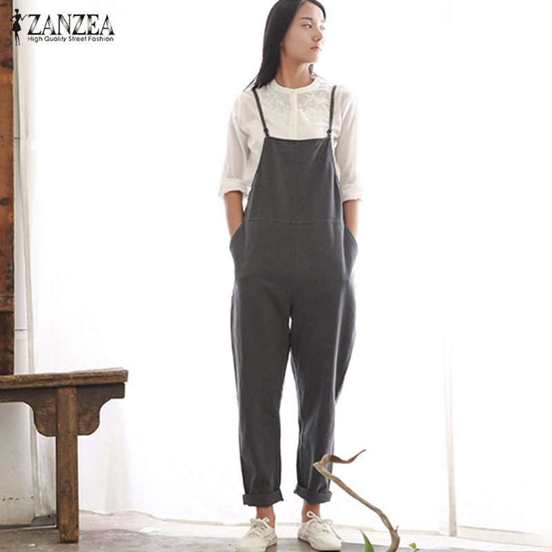 Womens Jumpsuits ZANZEA 2018 Rompers Casual Pockets Sleeveless Strap Solid Loose Jumpsuits Female Summer Plus Size Ovearalls