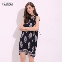 2019 ZANZEA Womens Summer Floral Print Sleeveless Beach Casual Loose A-Line Sundress Mini Dress Vestidos Plus Size S-5XL