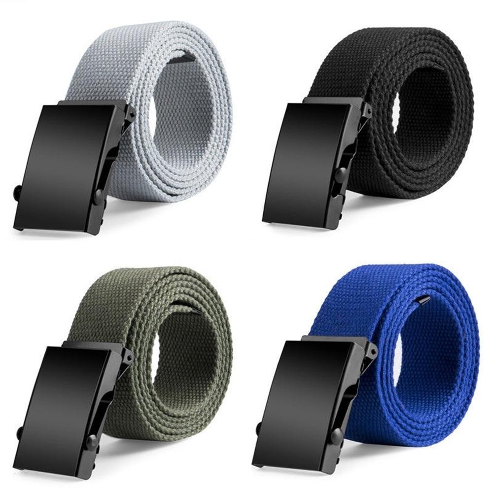 New Plain Canvas Military Web   Belt   Solid Black Metal Roller Buckle Mens Womens Fashion Accessory canvas   belt