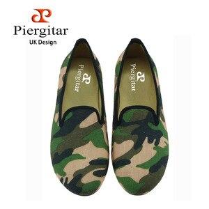 Piergitar handmade mulheres oliveiras cor da mistura tecido de camuflagem sapatos femininos chinelos casuais mulheres Do Partido Moda loafers mulheres flats