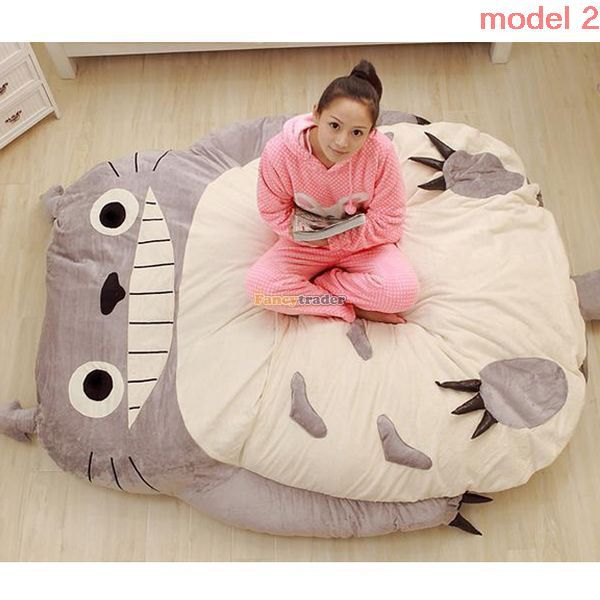 Fancytrader 230cm X 180cm Giant Biggest Plush Totoro Bed Carpet Tatami Mattress Sofa, 2 Models Available!Free Shipping FT50326 fancytrader new style giant plush stuffed kids toys lovely rubber duck 39 100cm yellow rubber duck free shipping ft90122
