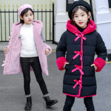 HSSCZL Girls jackets 2019 new winter thicken girl cotton child coat jacket outerwear kids Bow children clothing fashion 4-14Y