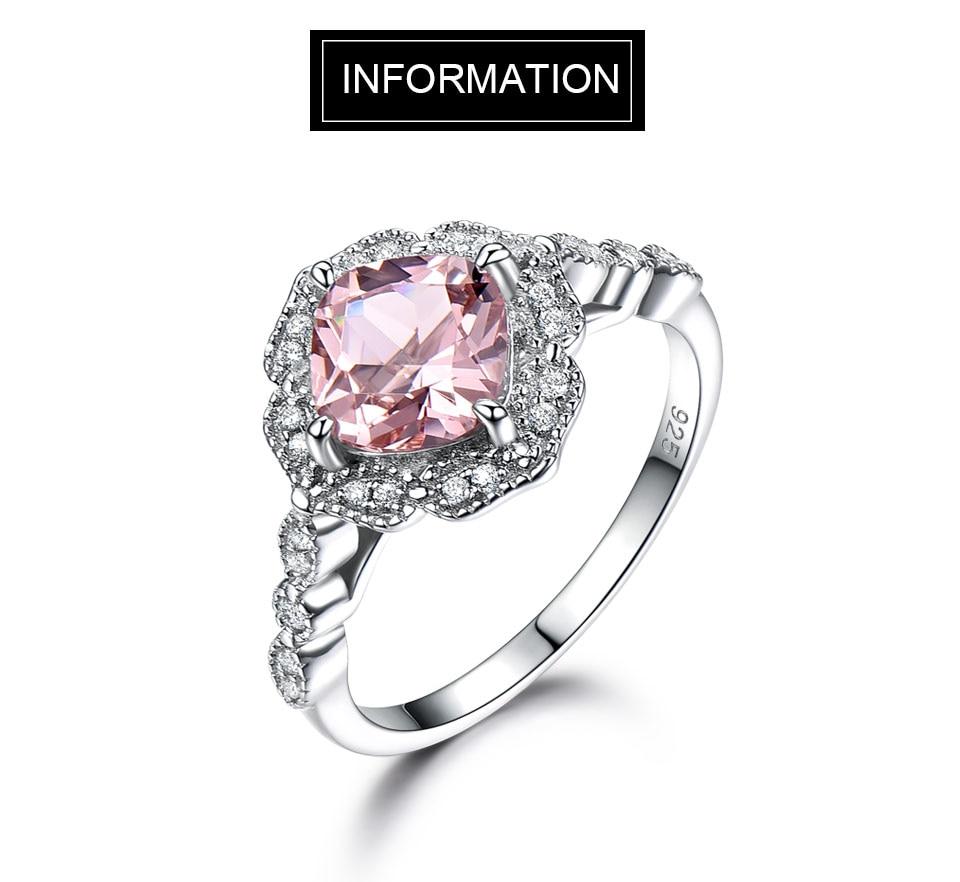 HTB17PshKeuSBuNjy1Xcq6AYjFXaV UMCHO Solid Sterling Silver Cushion Morganite Rings for Women Engagement Anniversary Band Pink Gemstone Valentine's Gift
