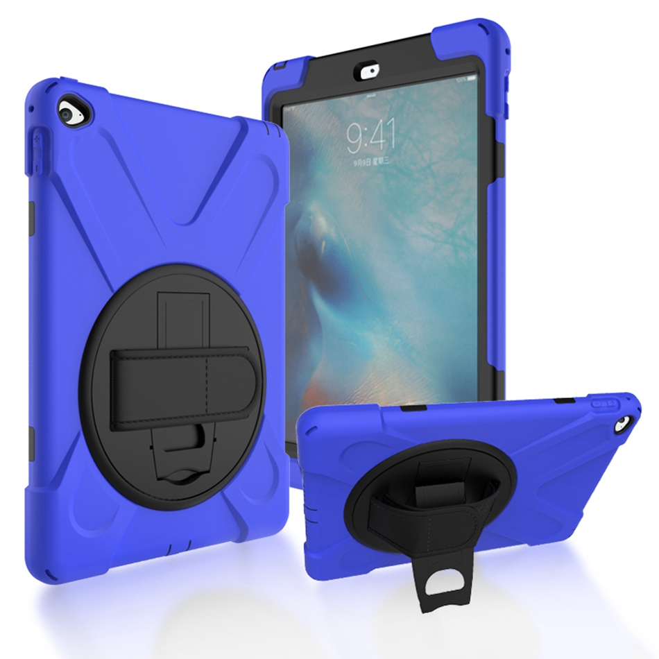 For iPad Air 2 Case Heavy Duty Shockproof Hand Strap Cover For iPad 6th Generation Kickstand Hybrid Kids Safe Armor Tablet Cases
