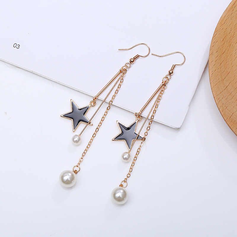 New Design Matte Metal Gold Love Heart Triangle Geometric Irregular Natural Freshwater Pearl Black Star Drop Earrings for Women
