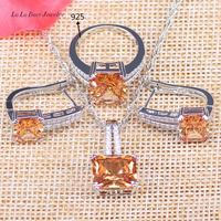 L B Surprise Jewelry Sets Silver Color Wedding Jewelry Yellow Orange Earrings Pendant Necklace Ring For