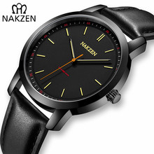 NAKZEN Men Watches Brand Quartz Genuine Leather Strap Minimalist Analogue Wristwatches Waterproof High Quality Relogio Masculino
