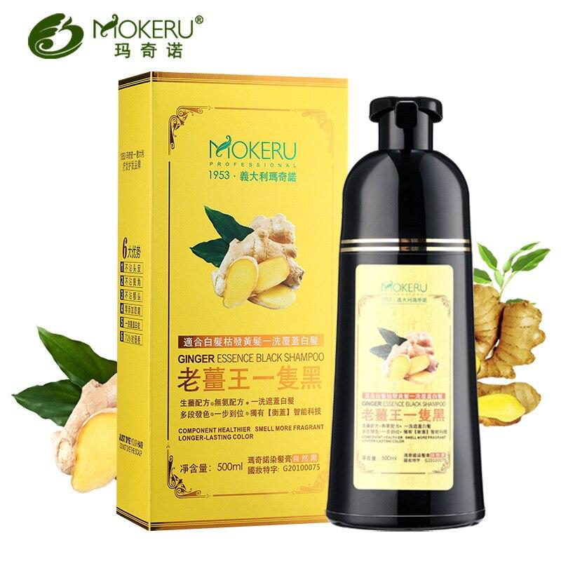 Mokeru 1 pc Ingwer Kräuter Nicht Allergische Natürliche Schnelle Schwärzen Grau Haar Farbstoff Schwarz Shampoo Farbstoff Für Weiß Haar Färbung