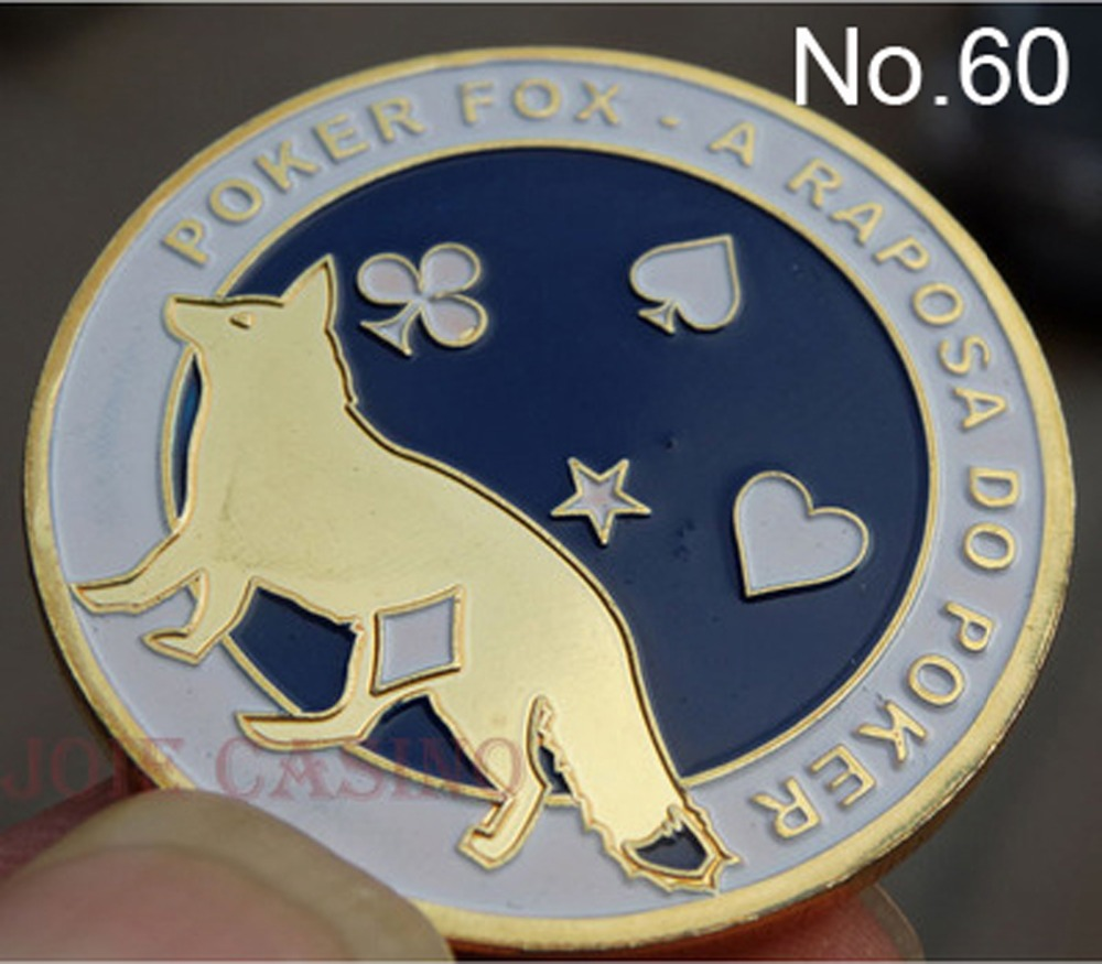 Metal for Pressing Poker Cards Guard Protector No.60  POKER FOX Poker Chips Souvenir Coins
