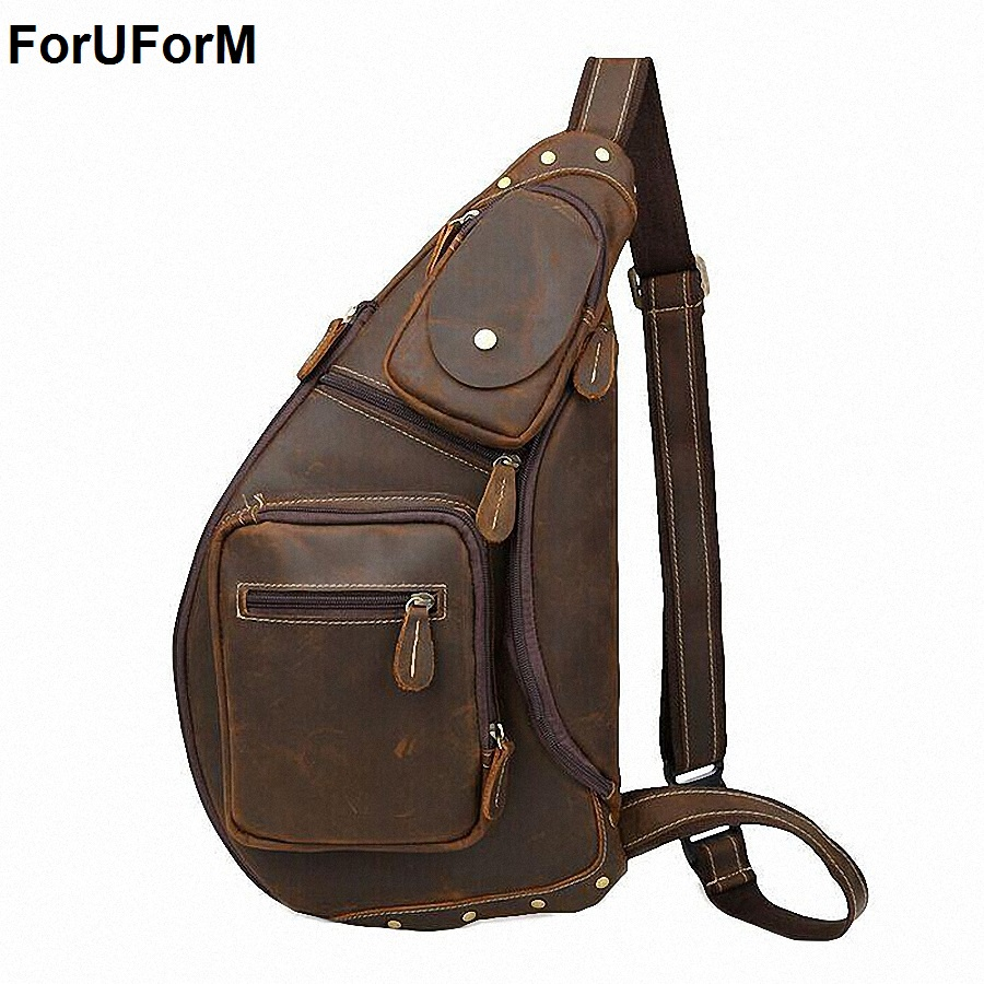 New male chest bags High Quality Vintage Casual Crazy Horse Leather Genuine Cowhide Men Chest Bag Messenger Bags For Man LI-1096 цепная пила
