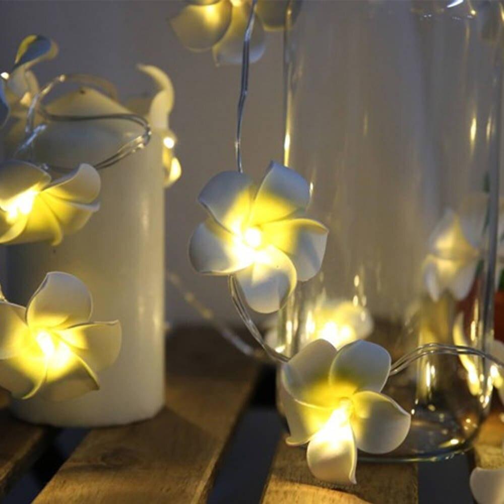 LED String Light Hawaiian Foam frangipan Flower Battery Powered Fairy Starry Lights for Wedding Beach Party Decoration