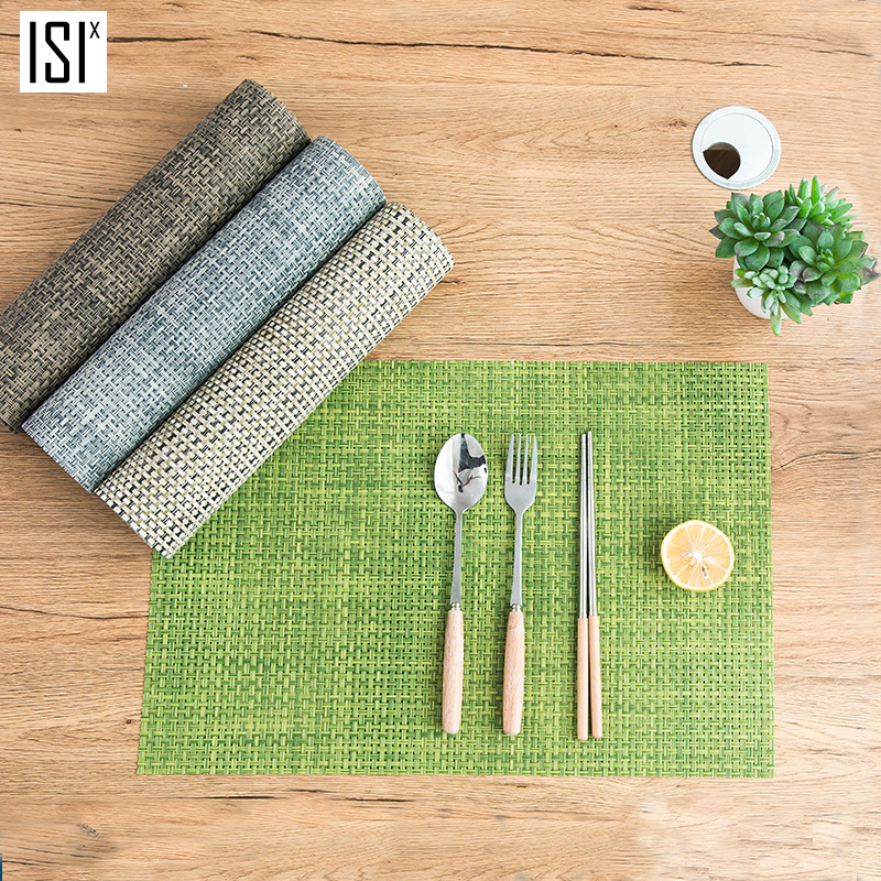 ISIX PVC Weaving Kitchen Placemat Eco-Friendly Coaster Waterproof Table Mat European Simplicity Heatproof Durable 4 Colors 45*30