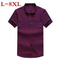 New Plus Size 8XL 7XL 6XL 5XL Men Striped Short Sleeve Shirt Casual Shirt The Trend